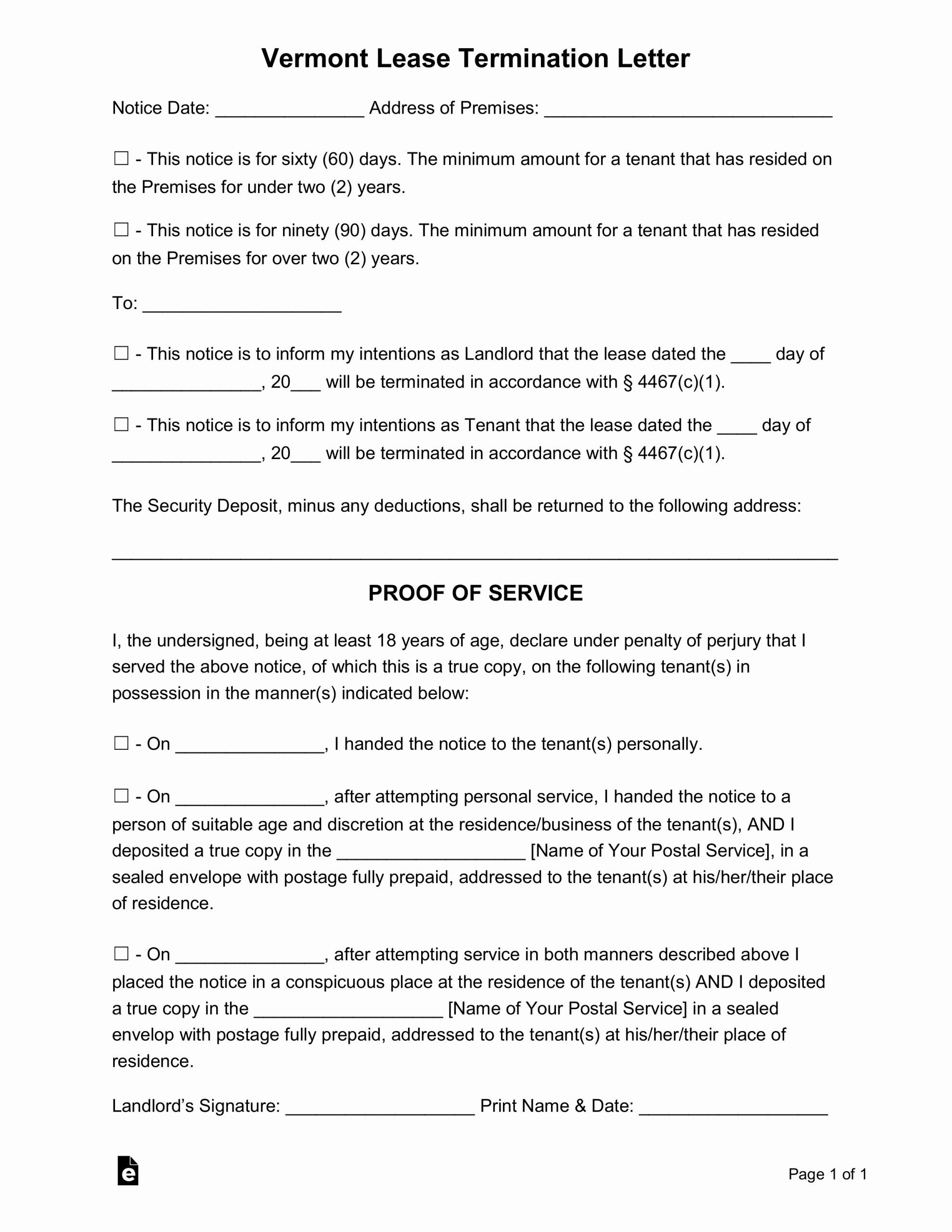 60 Day Notice to Landlord Pdf Fresh Free Vermont Lease Termination Letter form