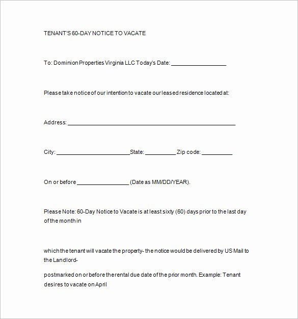 60 Day Notice to Landlord Pdf Inspirational Landlord Letter to Tenant Move Out