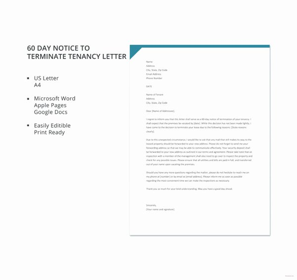 60 Day Notice to Landlord Pdf Unique 22 Termination Letter Templates Doc Pdf Ai