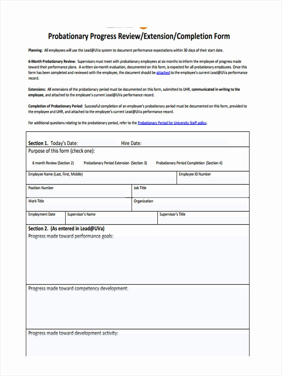 90 Day Probation Period Template Awesome Free 10 Probation Review form In Sample Example format