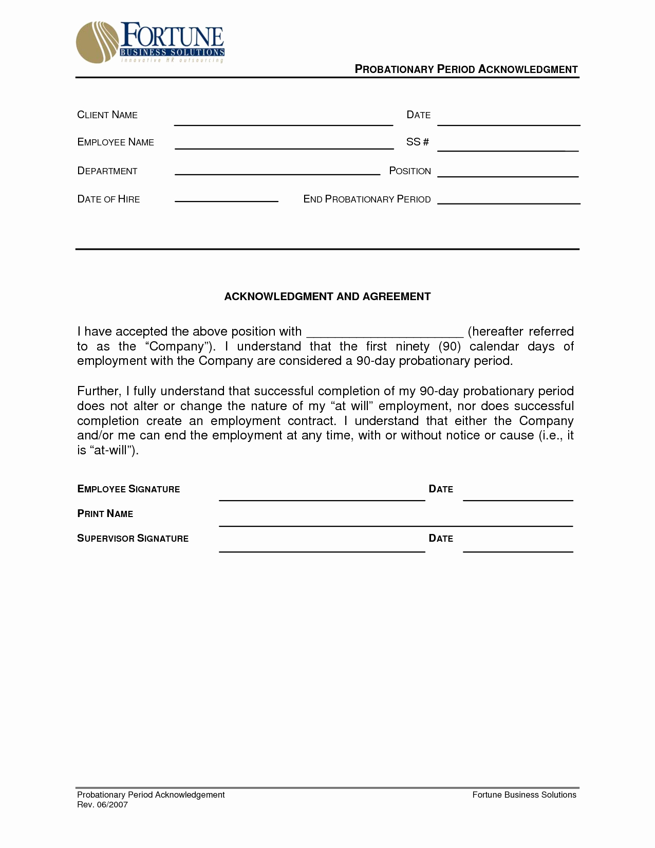 90 Day Probationary Period form Awesome Best S Of New Hire Probation Period Letter Employee