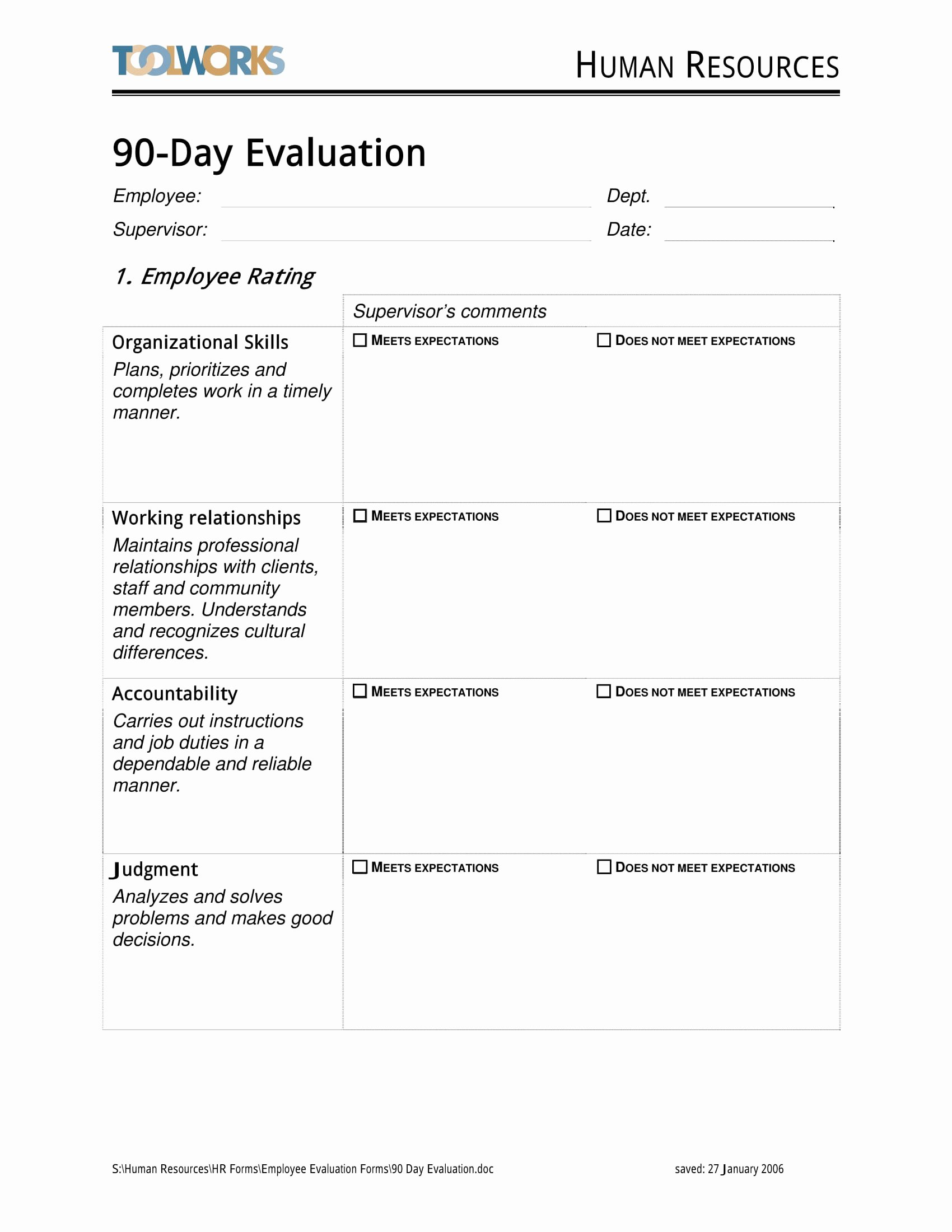 90 Day Probationary Period form Awesome Free 14 90 Day Review forms In Pdf