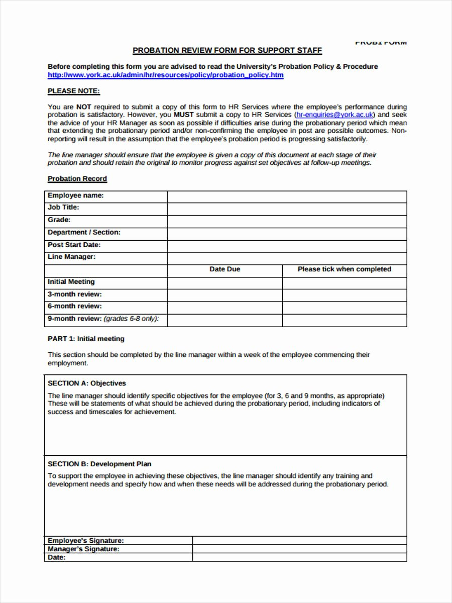 90 Day Probationary Period form Elegant Free 10 Probation Review form In Sample Example format