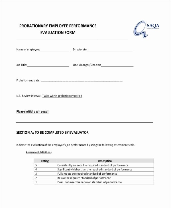 90 Day Probationary Period form Unique Free 10 Sample Employee Evaluation forms In Pdf