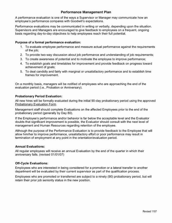 90 Day Probationary Period forms Elegant Probationary Period Performance Evaluation In Word and Pdf