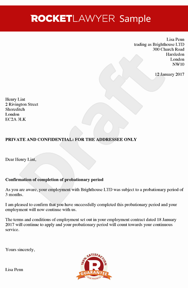 90 Day Probationary Period Offer Letter Beautiful Employment Probation Letter Template