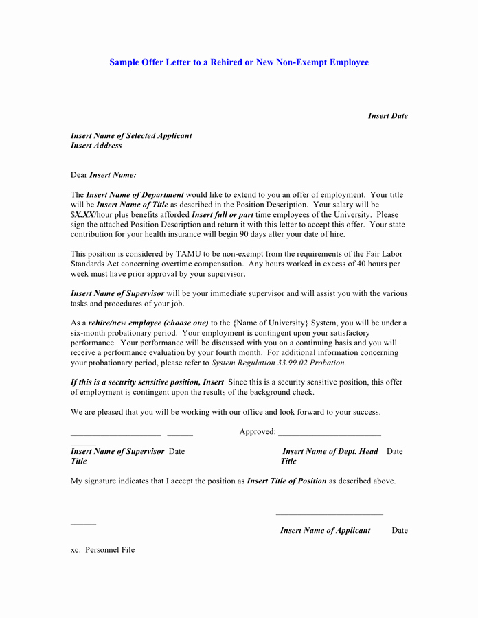 90 Day Probationary Period Offer Letter Lovely Sample Offer Letter to A Rehired or New Non Exempt