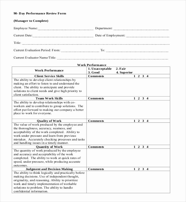 90 Day Probationary Period Template Beautiful Free 13 Sample Employee Review forms