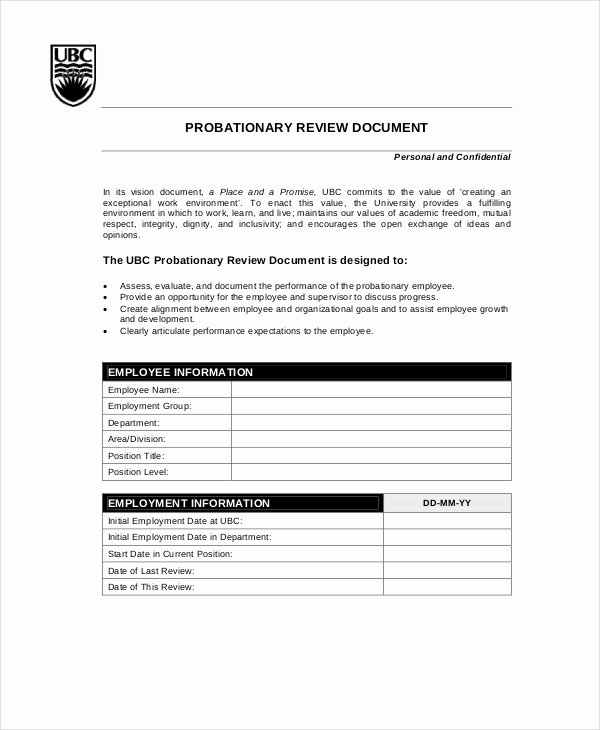 90 Day Probationary Period Template Fresh Employee Review Templates 13 Free Pdf Documents