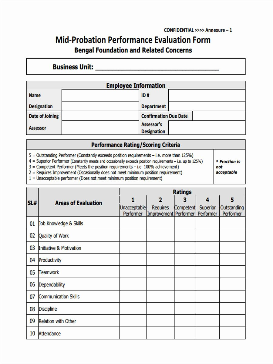 90 Day Probationary Period Template Unique Free 10 Probation Review form In Sample Example format