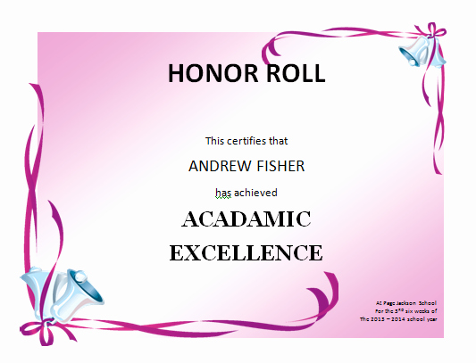 A Honor Roll Certificate Best Of Honor Roll Certificate Template Microsoft Word Templates