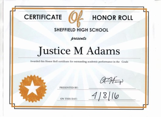A Honor Roll Certificate Best Of May 2016