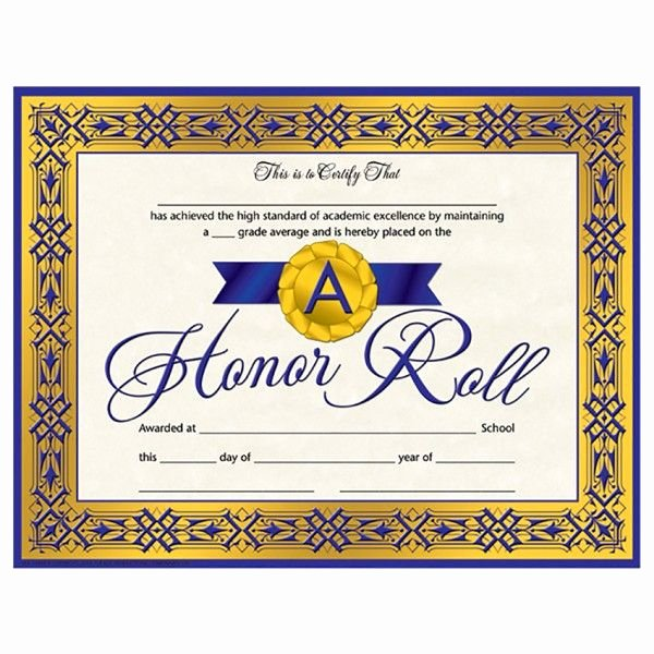 A Honor Roll Certificate Best Of Pin by On Honor Student