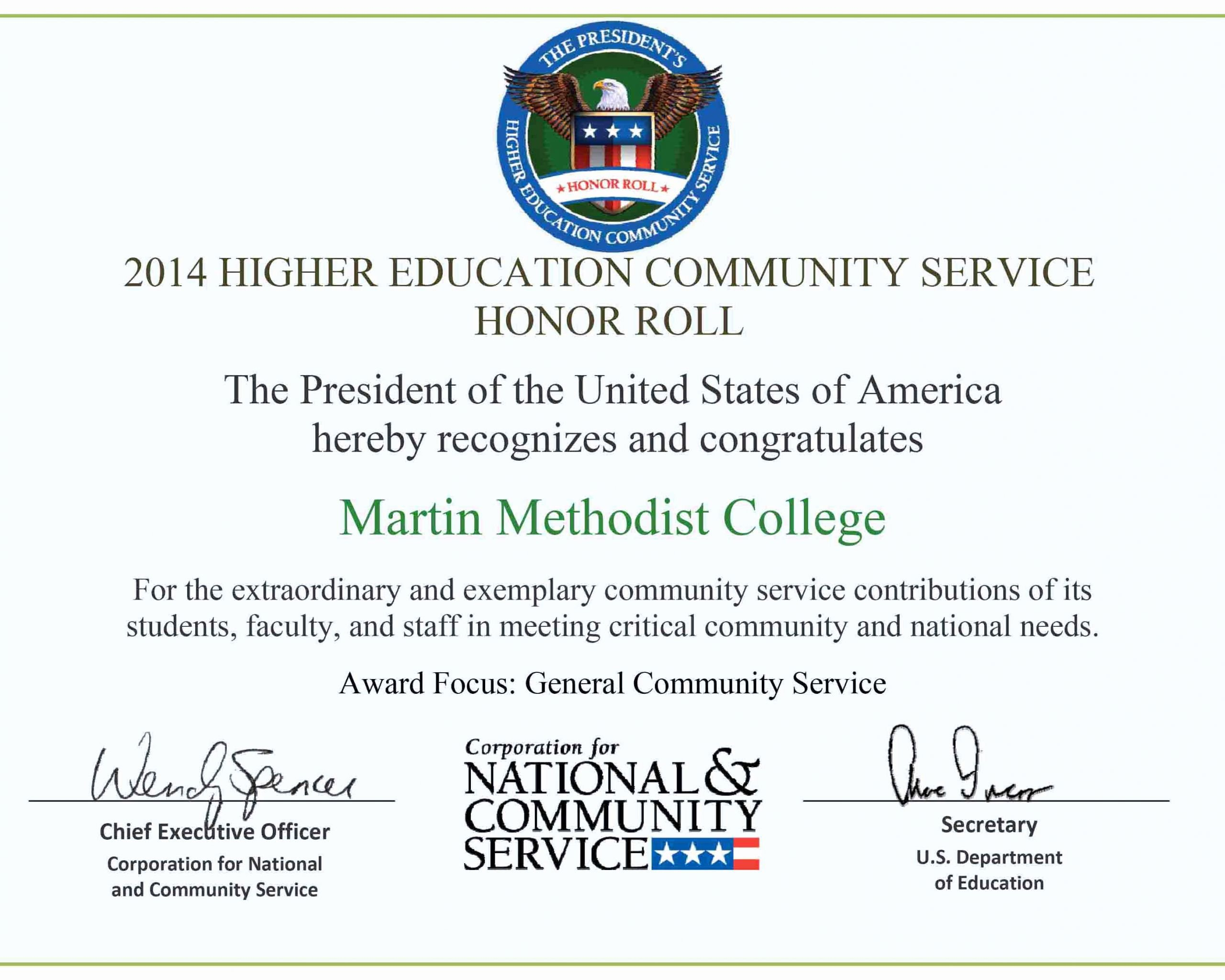 A Honor Roll Certificate Fresh Mmc Receives the President S Higher Ed Honor Roll Award