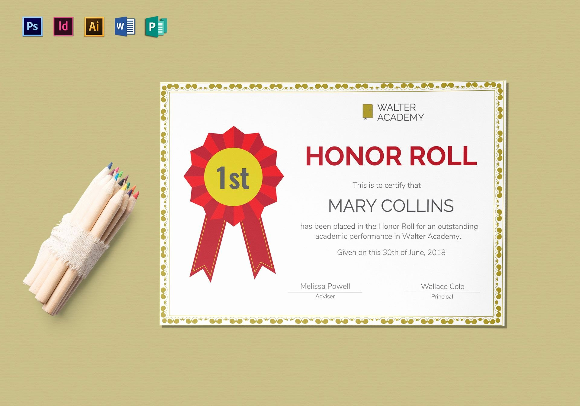 A Honor Roll Certificate Lovely Honor Roll Certificate Design Template In Psd Word