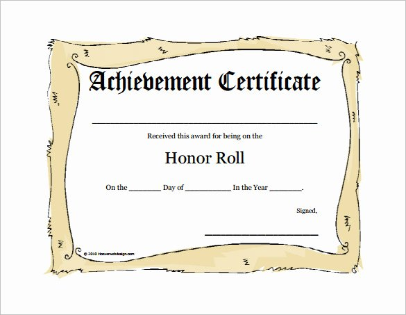 A Honor Roll Certificate New 8 Printable Honor Roll Certificate Templates & Samples
