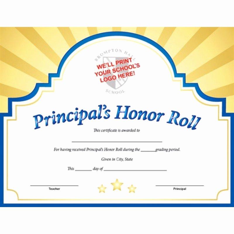 A Honor Roll Certificate New Custom Certificate Sunburst Principal S Honor Roll In