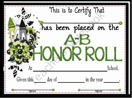 A Honor Roll Certificate Unique Honor Roll Certificate 6 From A Teacher In Paradise On