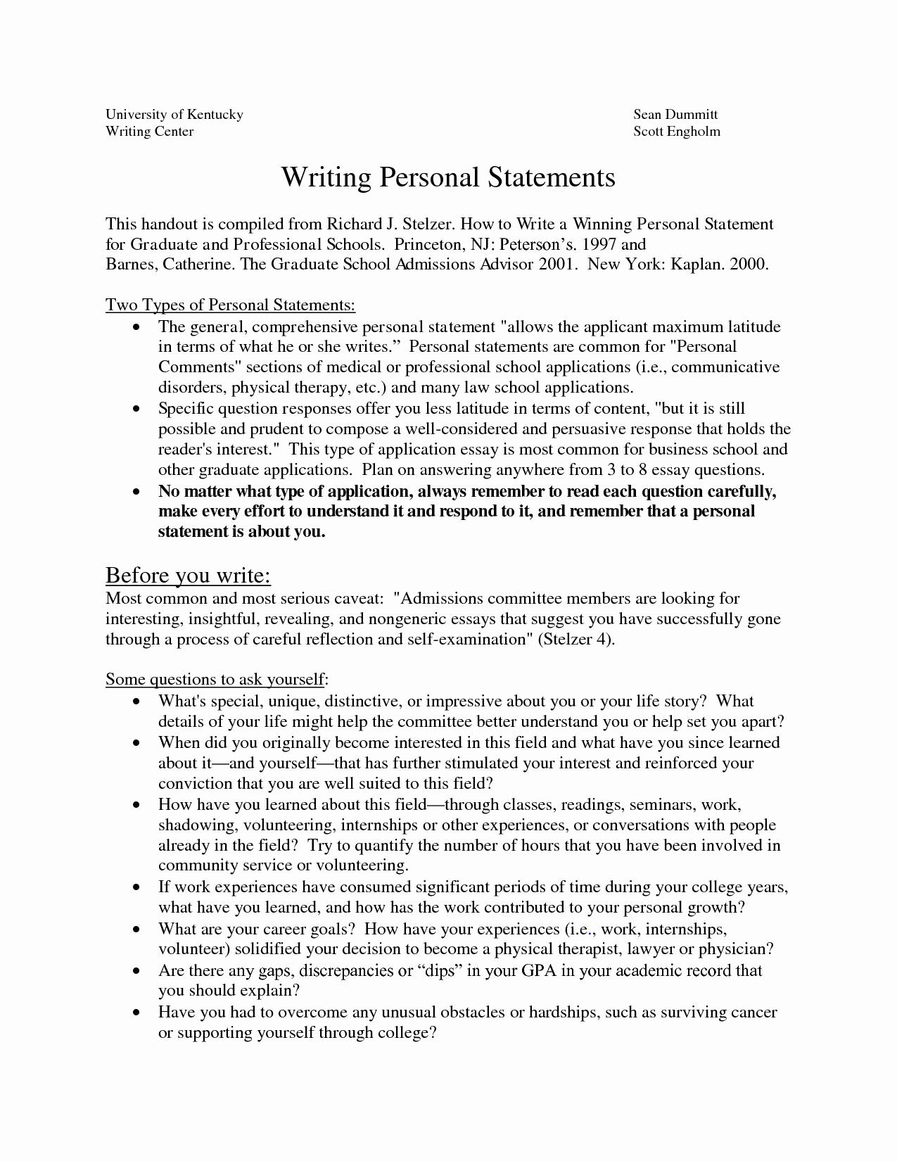 A Written Statement Best Of Sample Personal Statements Graduate School