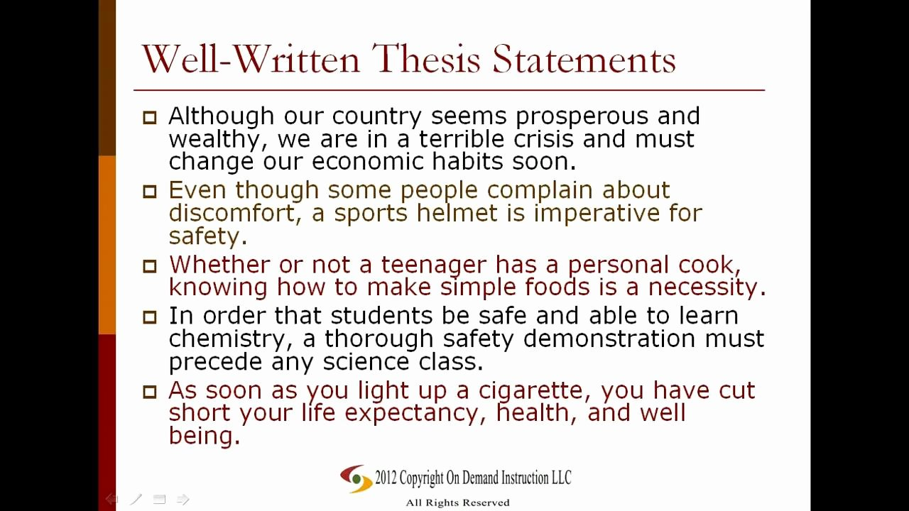 A Written Statement Lovely Examples Of thesis Statements