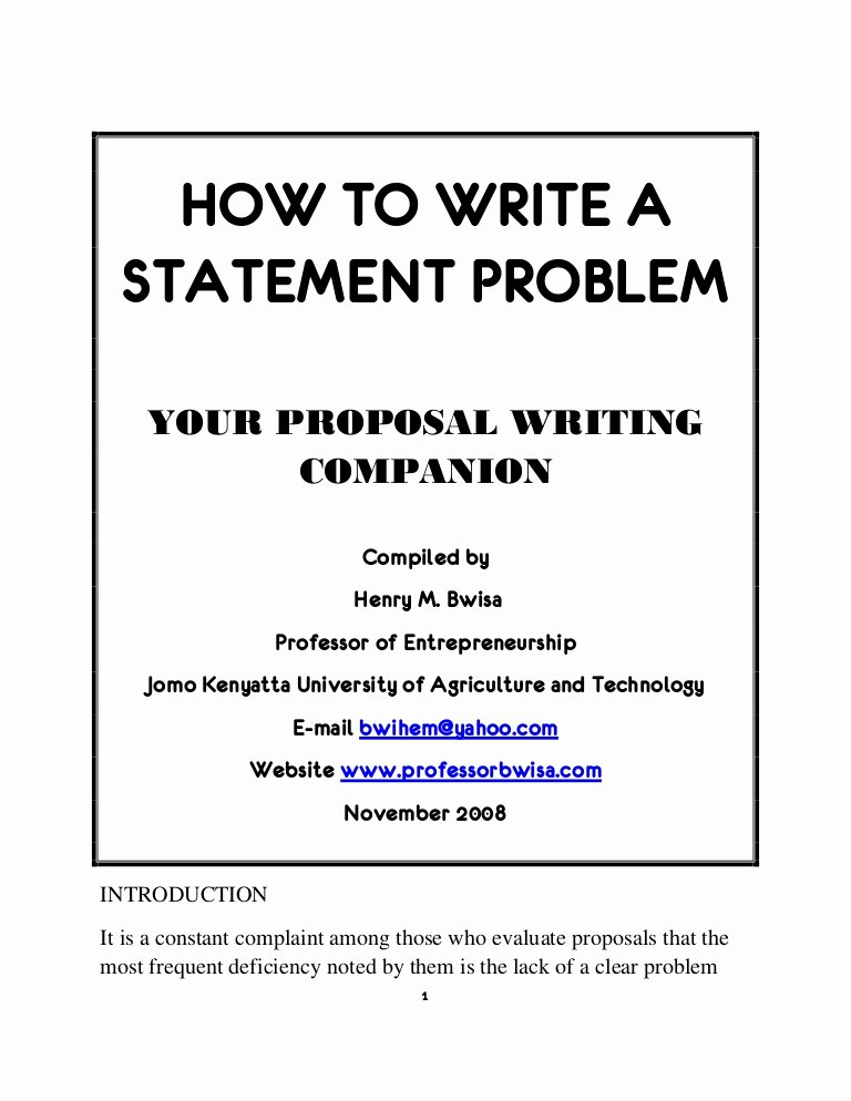 A Written Statement New How to Write A Statement Problem