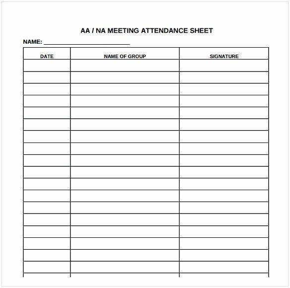 Aa Meeting Log Sheet Lovely attendance Sheet Pdf
