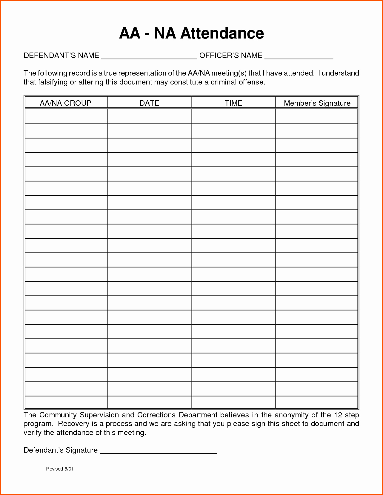 Aa Meeting Sign In Sheet Inspirational 19 Of Celebrate Recovery Printable Info Sheet
