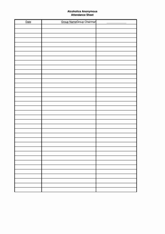 Aa Meeting Sign In Sheet Inspirational Alcoholics Anonymous attendance Sheet Template Printable
