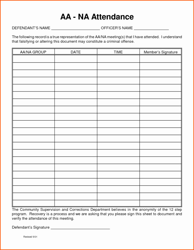 Aa Meeting Sign In Sheet Lovely Aa Meeting attendance Sheet Free Download Aashe