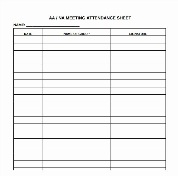 Aa Meeting Sign In Sheet New Free 18 attendance Sheet Templates In Pdf Word