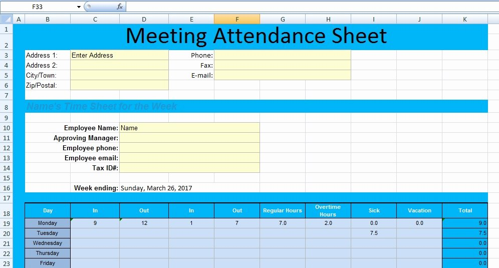 Aa Meeting Tracking Sheet New Get Meeting attendance Spreadsheet format Excel