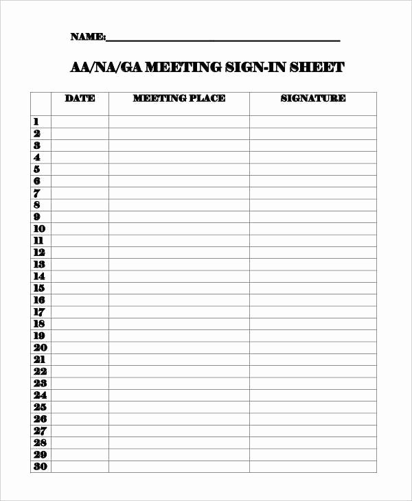 Aa Meetings Sign In Sheet Best Of 15 Sign In Sheet Samples & Templates In Pdf