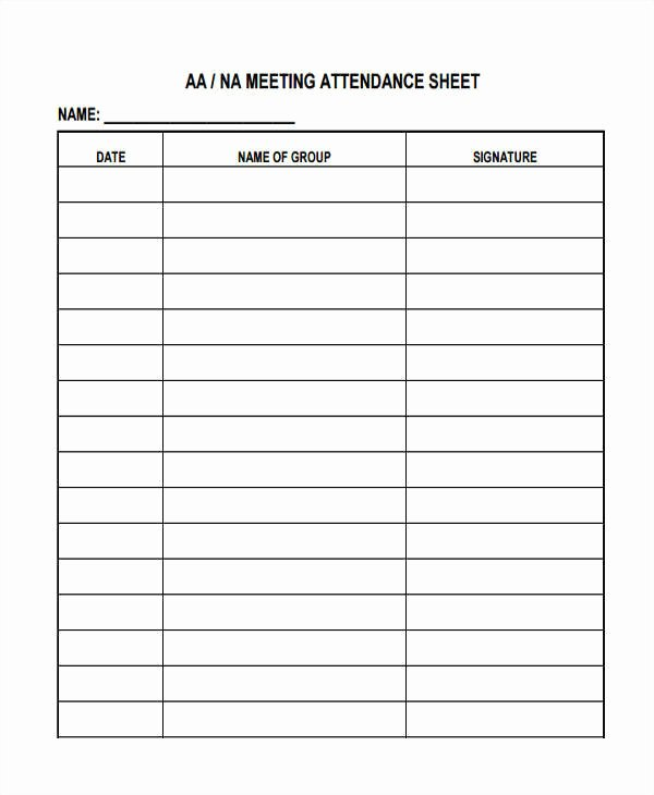 Aa Meetings Sign In Sheet Lovely 14 attendance Sheet Templates Free Sample Example