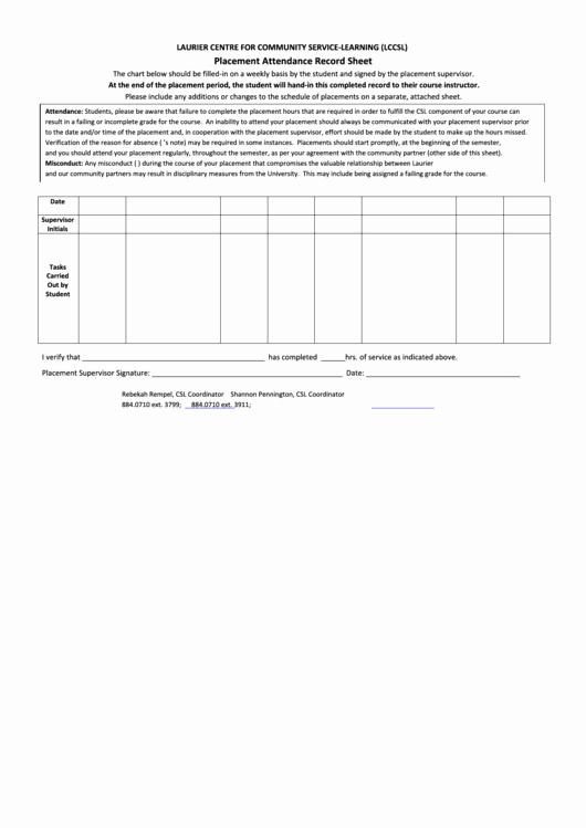 Aa Na attendance Verification Sheet Best Of Placement attendance Record Sheet Printable Pdf