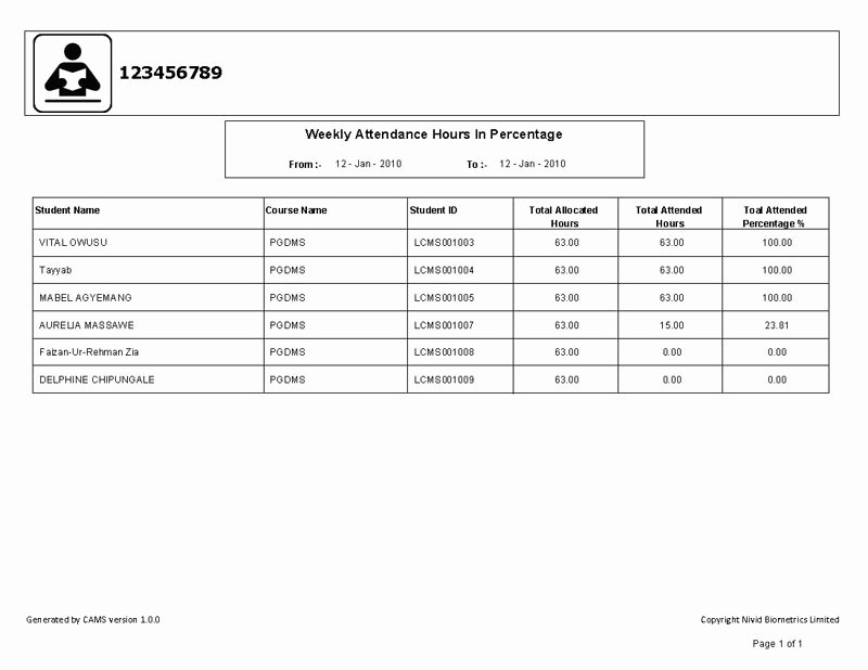 Aa Na attendance Verification Sheet New College attendance Management System is A Biometric and