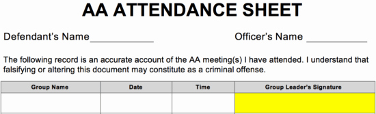 Aa Na Sign In Sheet Lovely Aa Meeting attendance Sheet Free Download Aashe