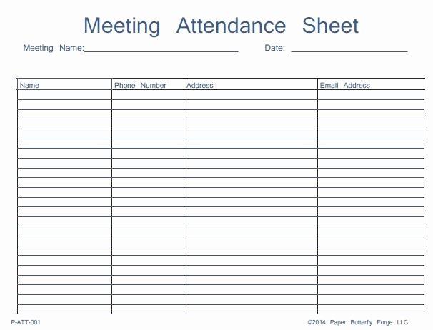 Aa Na Sign In Sheet Lovely Meeting attendance Sheet Template