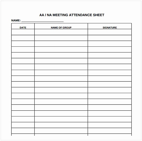 Aa Sign In Sheet for Court Fresh attendance Sheet Pdf