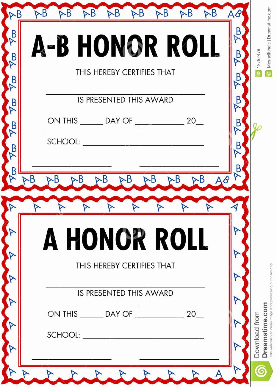 Ab Honor Roll Certificate Template Best Of Honor Roll Certificates Royalty Free Stock S Image