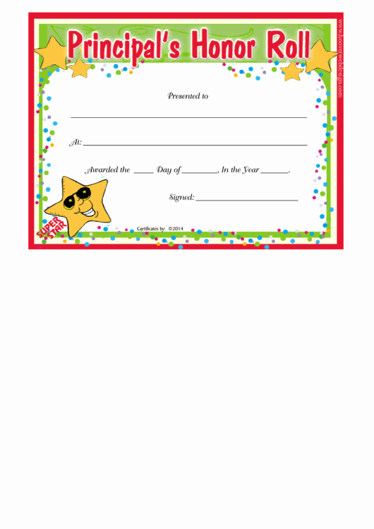 Ab Honor Roll Certificate Template Lovely Principals Honor Roll Certificate Template Printable Pdf