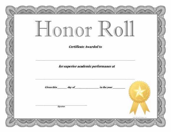 Ab Honor Roll Certificate Template Luxury 40 Honor Roll Certificate Templates & Awards Printable