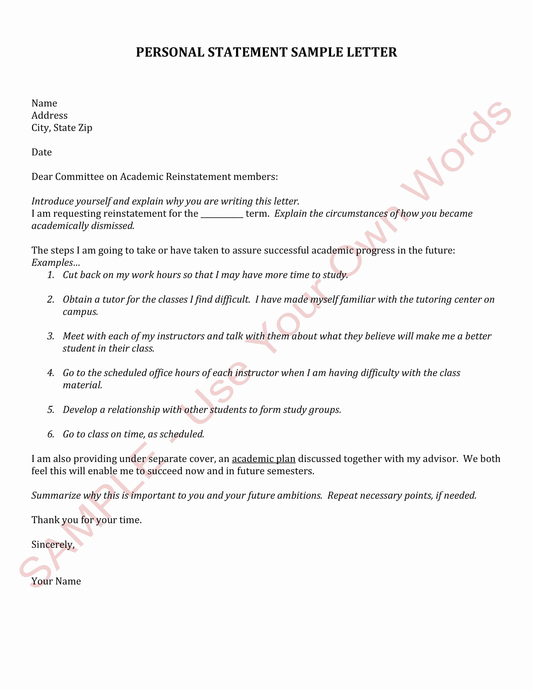 Academic Personal Statement Example Awesome 12 Ficial Statement Letter format Examples Pdf Doc