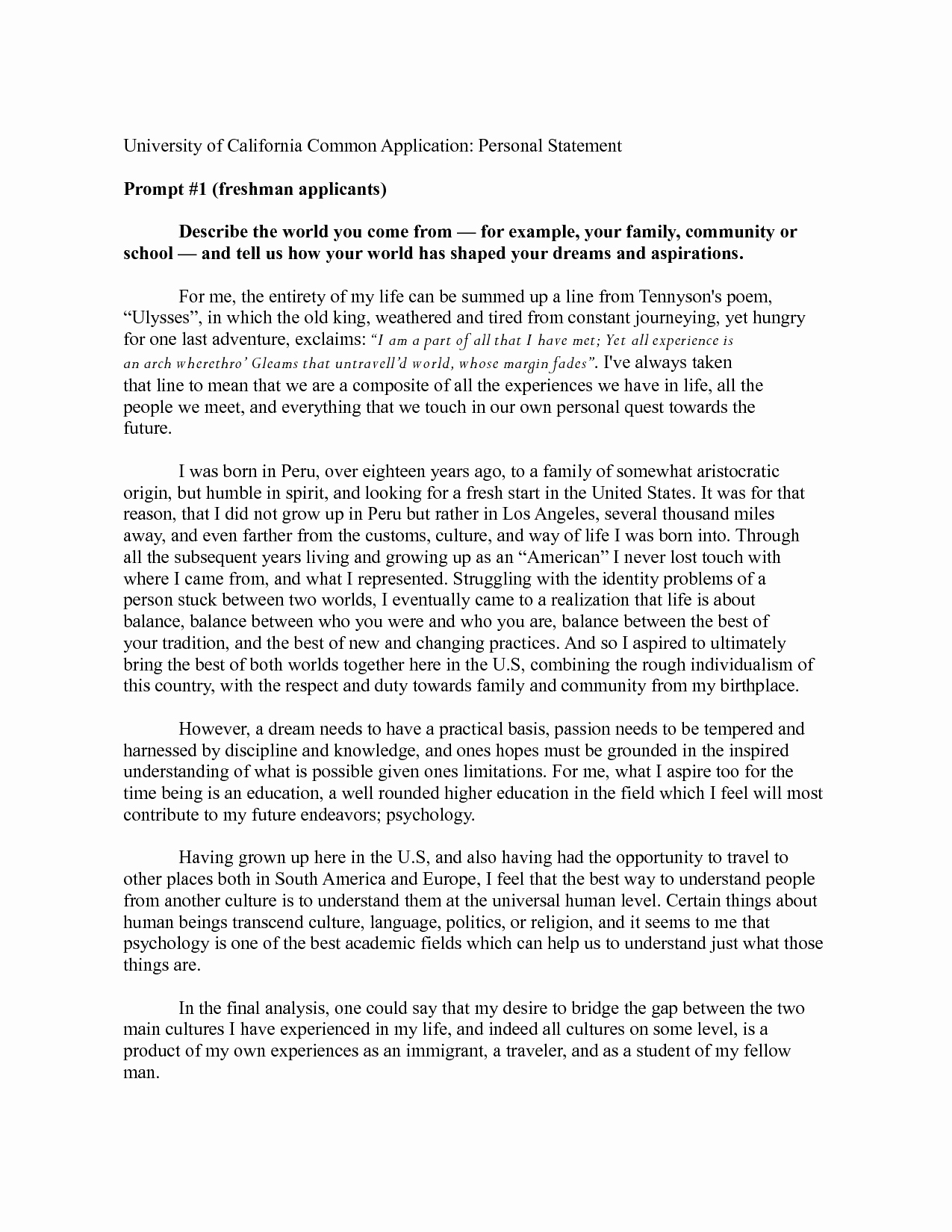 Academic Personal Statement Example Best Of Statement Application Personal Statement