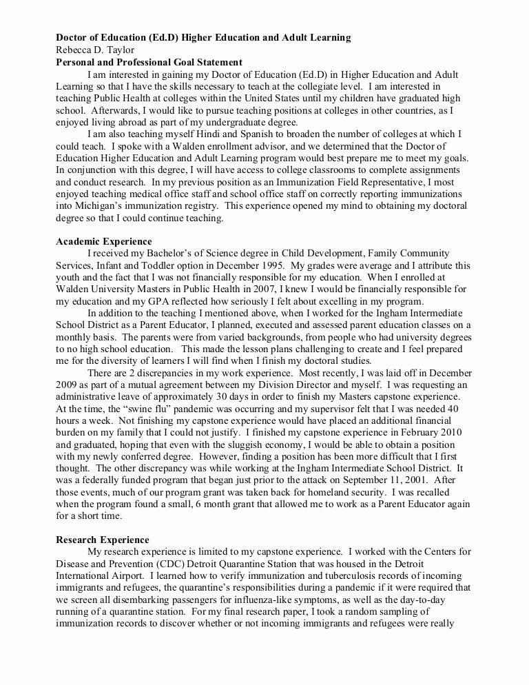 Academic Personal Statement Example Luxury Personal and Professional Goal Statement