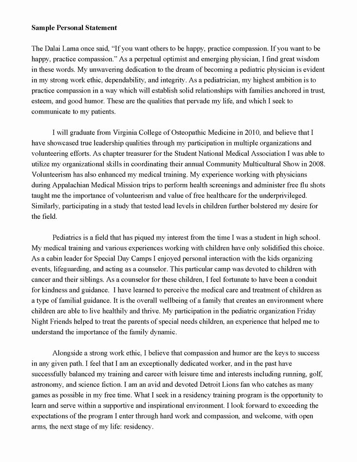 Academic Personal Statement Example New Good Personal Statements for Graduate School Salisbury