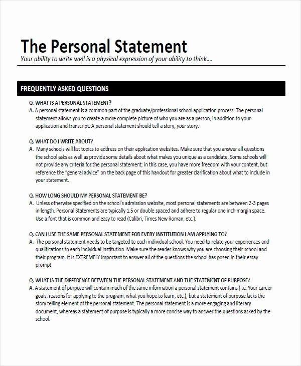 Academic Personal Statement Example Unique Free 8 Personal Statement Examples & Samples In Pdf