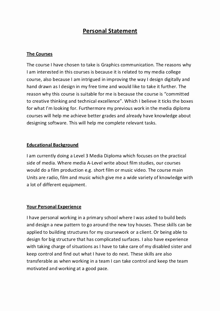 Academic Personal Statement Example Unique Personal Statement