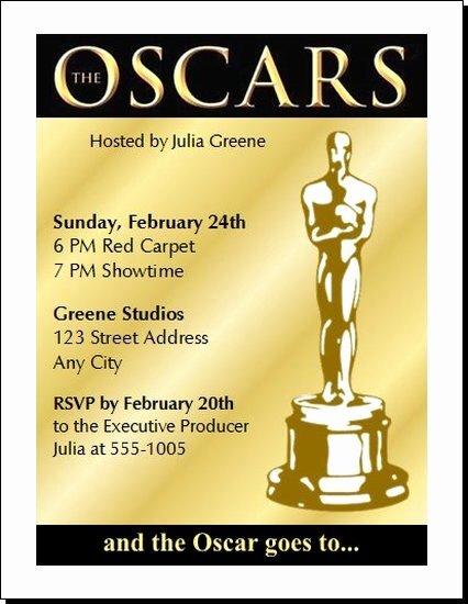 Academy Award Envelope Template Beautiful Oscar Awards Party Invitation