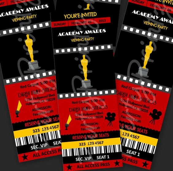 Academy Award Envelope Template Inspirational Printable Academy Awards Oscars Party event Ticket by