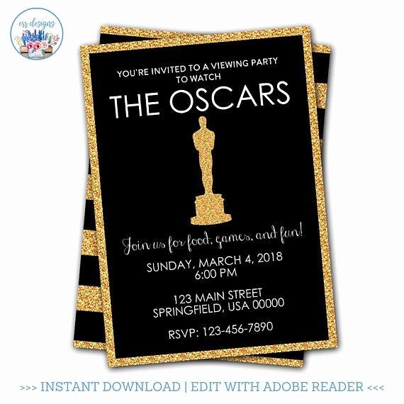 Academy Award Envelope Template Luxury Oscar Party Invitation Editable Oscar Party Invitation